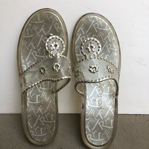 Jack Rogers Navajo platinum clear jelly shoes Sz 9